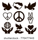 peace icons set | Shutterstock .eps vector #770477443