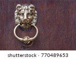 lion head door knocker on ... | Shutterstock . vector #770489653