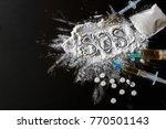 narcotics heroin  syringes ...   Shutterstock . vector #770501143