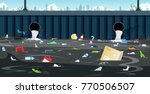drainage pipe with dirty waste... | Shutterstock .eps vector #770506507