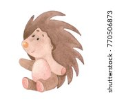 cute watercolor plush porcupine ... | Shutterstock . vector #770506873