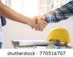architect contractor shaking... | Shutterstock . vector #770516707
