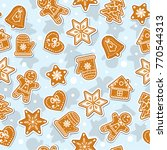 doodles christmas cookies.... | Shutterstock .eps vector #770544313