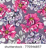 seamless pattern with image of... | Shutterstock .eps vector #770546857