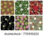 vector seamless pattern flowers ...   Shutterstock .eps vector #770550223