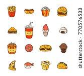 set of vector cartoon doodle... | Shutterstock .eps vector #770576533