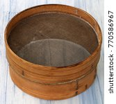Small photo of flour sieve old sift wooden