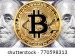 golden bitcoin with benjamin... | Shutterstock . vector #770598313