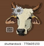 Vector Cow With Flower. Hand...