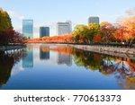 cityscape and autumn scene... | Shutterstock . vector #770613373