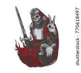 death skeleton warrior holding... | Shutterstock .eps vector #770618497
