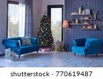 modern living room christmas... | Shutterstock . vector #770619487