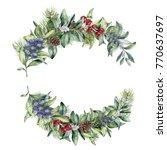 watercolor winter floral branch ...   Shutterstock . vector #770637697
