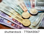 close up coin  fifty cen on the ... | Shutterstock . vector #770643067