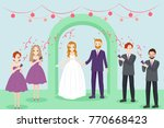 cartoon people marry on the... | Shutterstock .eps vector #770668423