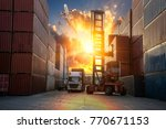 forklift handling container box ... | Shutterstock . vector #770671153