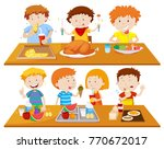 people eating different types... | Shutterstock .eps vector #770672017
