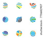 abstract web icons and globe... | Shutterstock .eps vector #770682907