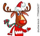 christmas reindeer in santa... | Shutterstock .eps vector #770683657