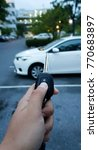 Small photo of Hand presses on remote control car alarm systems