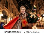 on a huge christmas sales in... | Shutterstock . vector #770736613