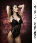 attractive brunette in black... | Shutterstock . vector #770738287