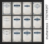 set of vintage frames with... | Shutterstock .eps vector #770749297