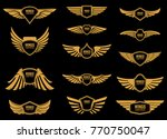set of wings icons in golden... | Shutterstock .eps vector #770750047