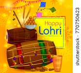 happy lohri punjabi religious... | Shutterstock .eps vector #770750623