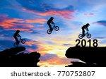 a man ride a bike jumping to...   Shutterstock . vector #770752807