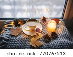 cozy winter or autumn morning... | Shutterstock . vector #770767513