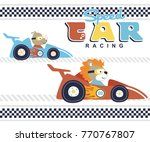 car racing with cute animals ... | Shutterstock .eps vector #770767807