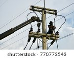 Small photo of RAYONG THAILAND-Oct25,2017: The contractor is installing high-voltage power system to expand the power system at Tambon Tubman Rayong.