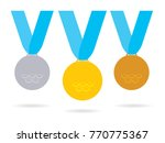 medals set on the blue ribbons. ... | Shutterstock .eps vector #770775367