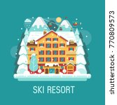 ski resort landscape in flat... | Shutterstock .eps vector #770809573