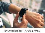 the modern smart watch on the... | Shutterstock . vector #770817967