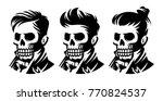 set skull barbershop victorian... | Shutterstock .eps vector #770824537