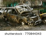 burned car. set fire to cars in ... | Shutterstock . vector #770844343