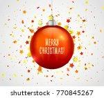 beautiful red christmas ball... | Shutterstock .eps vector #770845267