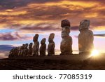 Standing Moai In Easter Island...