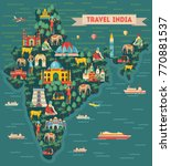 india map. travel and tourism... | Shutterstock .eps vector #770881537