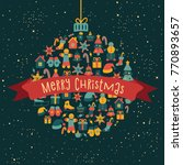 merry christmas card. new year... | Shutterstock .eps vector #770893657