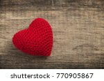 love heart on wooden texture... | Shutterstock . vector #770905867