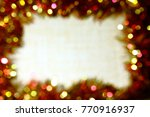 Small photo of Background frame for congratulations with Christmas and a new year with an effusive and bokeh effect.