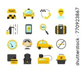 taxi app flat icons set. ... | Shutterstock . vector #770923867