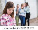 sad pre teen girl feeling left... | Shutterstock . vector #770932573