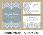 template of wedding cards with... | Shutterstock . vector #770975923