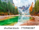lake braies iconic natural... | Shutterstock . vector #770980387