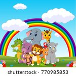 collection of zoo animals with... | Shutterstock .eps vector #770985853