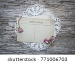 vintage postcard  lace fabric...   Shutterstock . vector #771006703